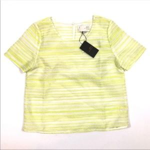 NWT J.O.A Yellow White Striped Top